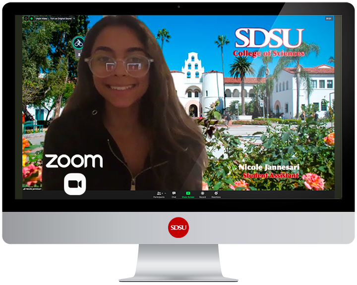 computer display showing smiling worker with SDSU campus in background.